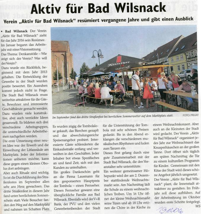 """""""Aktiv für Bad Wilsnack"""" resümiert vergangene Jahre und gibt einen Ausblick"""