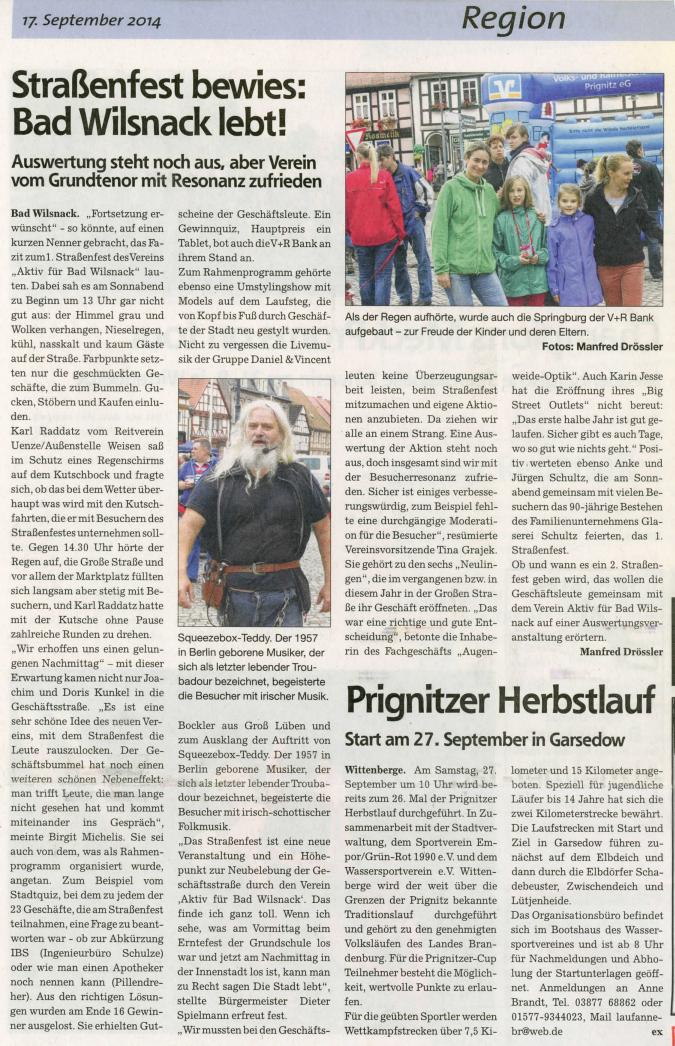 Erstes Straßenfest 2014 un Bad Wilsnack